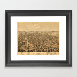 Vintage Pictorial Map of Kalamazoo Michigan (1874) Framed Art Print