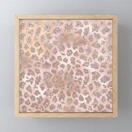 Rosegold Blush Leopard Glitter   Framed Mini Art Print