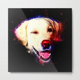 labrador retriever dog winking splatter watercolor Metal Print