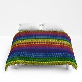 Tribality Rainbow Black Background Comforters