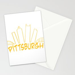 Pittsburgh Skyline Gold Stationery Cards