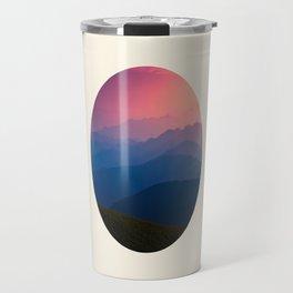 Blue Purple & Pink Mountains Sunset Silhouette Travel Mug