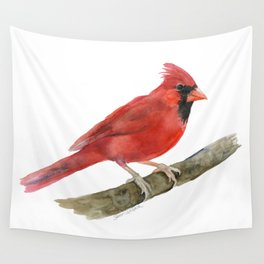 Red Cardinal Watercolor Wall Tapestry