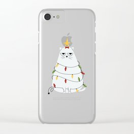 Grumpy Christmas Cat Clear iPhone Case