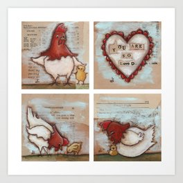 You Are So Loved Chickens - by Diane Duda Art Print