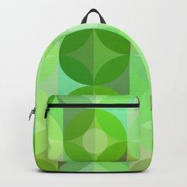 Layered Circles Geometric Pattern - Green Backpack