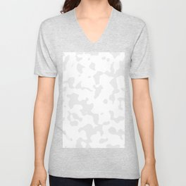 Large Spots - White and Pale Gray Unisex V-Neck