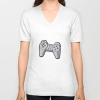 playstation V-neck T-shirts featuring Playstation controller by Matt Ellero