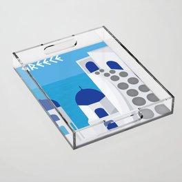 Greece Poster Acrylic Tray