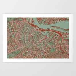 Amsterdam city map pop Art Print