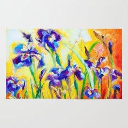 Alpha and Omega Impressionist Blue Irises Rug