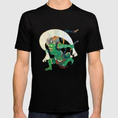 polygonal representation of Fūjin (japanese god of wind) MEDIUM Black Mens Fitted Tee