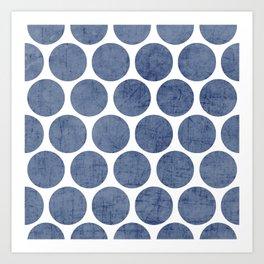 blue polka dots Art Print