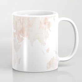 Marble World Map Light Pink Rose Gold Shimmer Coffee Mug