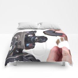 Retro mechanical hobbies movie camera and film in hands Comforters