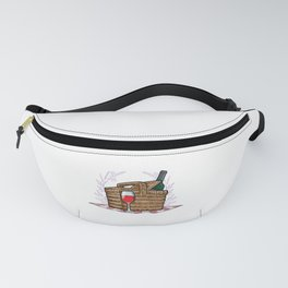 Picnic basket with Blanket and Bottle of Red wine Fanny Pack