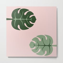 Tropical leaves Monstera deliciosa green and pink #monstera #tropical #leaves #floral #homedecor Metal Print