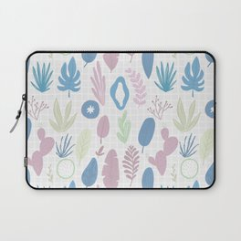 Geometrical blue pink mint green floral pattern Laptop Sleeve