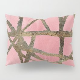 Pink & Gold Mid Century Lines Abstract Pillow Sham