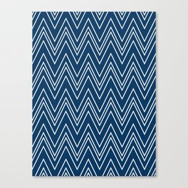 Navy Skinny Chevron Canvas Print