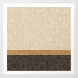 Brown and Caramel Simple Stripe Abstract Art Print