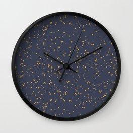 Speckles I: Dark Gold on Blue Vortex Wall Clock