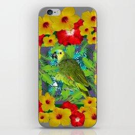 RED-YELLOW HIBISCUS & GREEN PARROT JUNGLE GRAY  ART n iPhone Skin