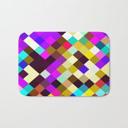 geometric square pixel pattern abstract in purple pink yellow blue brown Bath Mat
