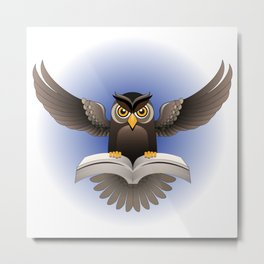 Brown Owl fly with the book Metal Print