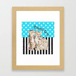 Bengal Cats Polka Dot Watercolor Love Framed Art Print