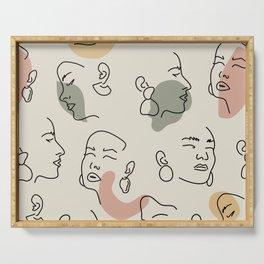 Line Face Art Print | Minimalist Woman Line Drawing | Simple Line Art Female Face | Drawn Woman Face Serving Tray