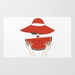 beautiful young woman with red hat, sunglasses and watermelon slice Rug