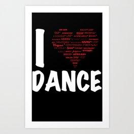 I Heart Dance(white) Art Print