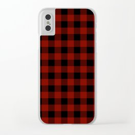 Vintage New England Shaker Large Barn Red Buffalo Check Plaid Clear iPhone Case