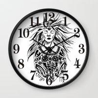virgo Wall Clocks featuring Virgo by Anna Shell
