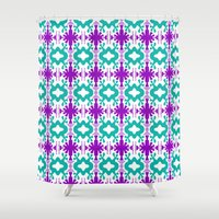 kurt rahn Shower Curtains featuring Kurt - Symmetrical Digital Art in Aqua, Purple and White by Renee Dillon Art
