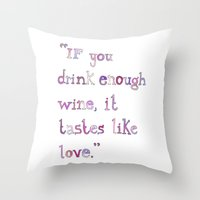 wine Throw Pillows featuring Wine by S. L. Fina