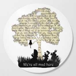 We're All Mad Here II - Alice In Wonderland Silhouette Art Cutting Board
