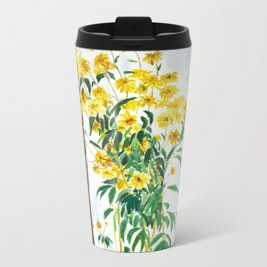 sun choke flowers outside a house Metal Travel Mug