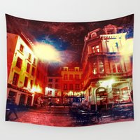 cafe Wall Tapestries featuring Antwerpen cafe by Yukska