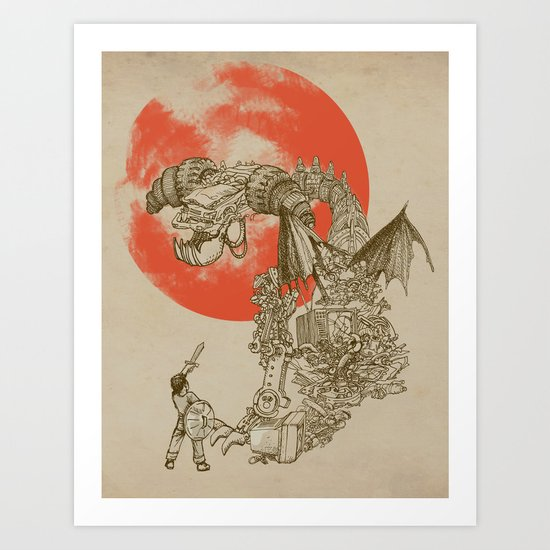 Junkyard Dragon (monochrome version) Art Print