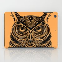 men iPad Cases featuring Warrior Owl 2 by Rachel Caldwell