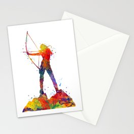 Archery Girl Colorful Watercolor Artwork Stationery Cards
