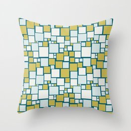Off White, Pale Blue, Dark Yellow Funky Mosaic Squarre Pattern on Dark Teal Inspired by Sherwin Williams 2020 Trending Color Oceanside SW6496 Throw Pillow