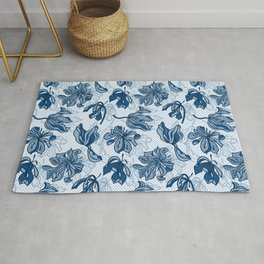 Abstract Tulips - Blue Rug