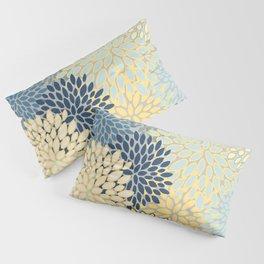 Floral Print, Yellow, Gray, Blue, Teal Pillow Sham