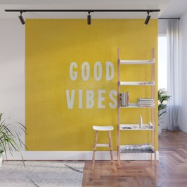 Sunny Yellow and White Distressed Effect Good Vibes Wall Mural