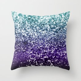 Aqua Purple Ombre Glitter #2 #decor #art #society6 Throw Pillow