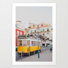 Yellow Tram in Lisbon Art Print