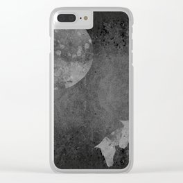 Moon with Horses in Grays Clear iPhone Case